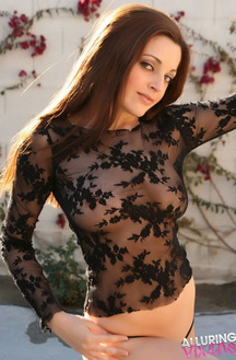 Sexy Babe Maya In Sheer Lace Top Outdoors