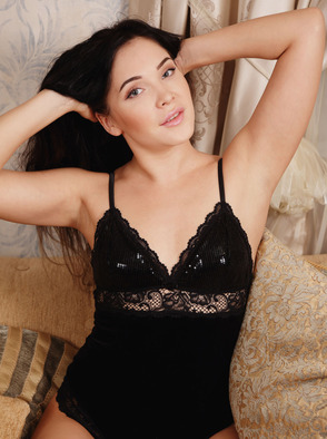 Hot Brunette Teen Black Fox In Black Lingerie