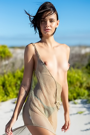 Ariel removes her transparent dress and lays down nude on the sand