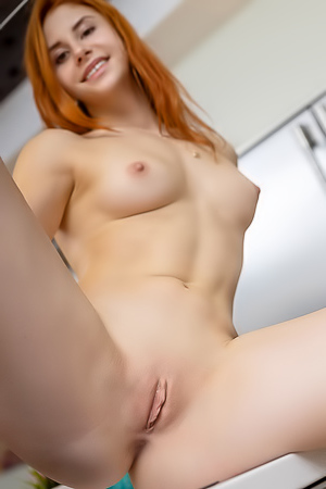 Hot Redhead Girl Siiri Stripping In Kitchen